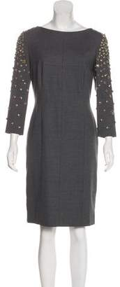 Alberta Ferretti Embellished Wool Dress