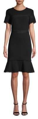 Karl Lagerfeld Paris Short-Sleeve Lace-Trim Sheath Dress