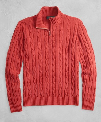 Brooks Brothers Golden Fleece 3-D Knit Alpaca-Blend Half-Zip Cable Sweater