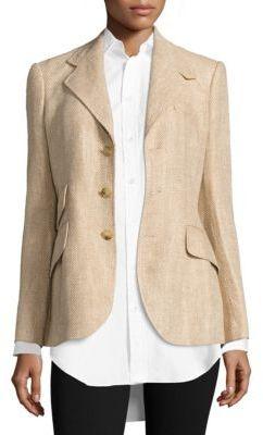 Polo Ralph Lauren Linen Herringbone Hacking Blazer $598 thestylecure.com