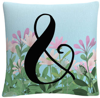 """Trademark Global Pink Floral Garden Letter Illustration Ampersand 16x16"""" Decorative Throw Pillow by Abc"""