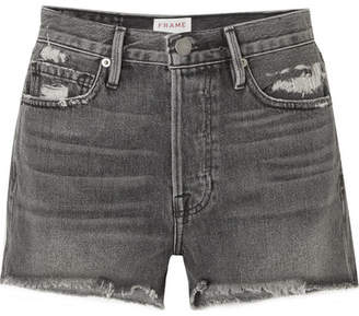 Frame Rigid Re-release Le Original Distressed Denim Shorts - Gray