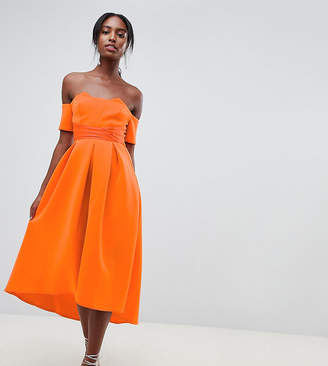 Bardot Asos Tall ASOS DESIGN Tall pleated waist scuba midi prom dress
