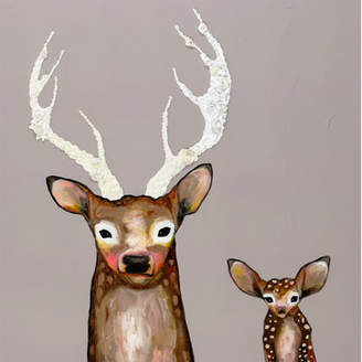 GreenBox Art 'Frosted Buck and Baby' by Eli Halpin Painting Print on Wrapped Canvas