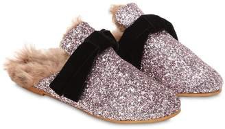 Glittered Loafers W/ Fur
