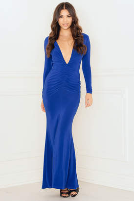 Rebecca Stella Deep V Ruched Maxi Dress with Open Back Blue