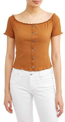 Eye Candy Juniors' Button Front Off the Shoulder Rib Knit Top