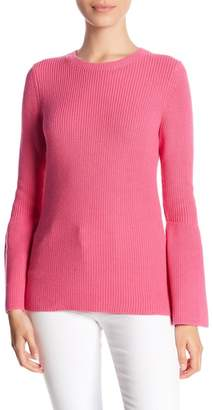 Minnie Rose Ribbed Knit Bell Sleeve Sweater