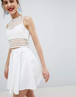 Asos DESIGN full skater mini skirt in scuba