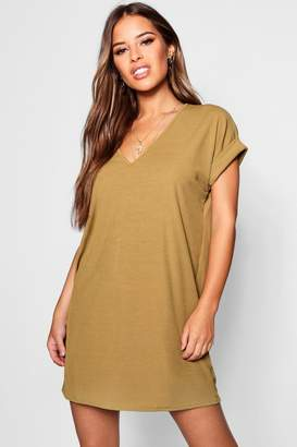 boohoo Petite Oversized Ribbed T-shirt Dress