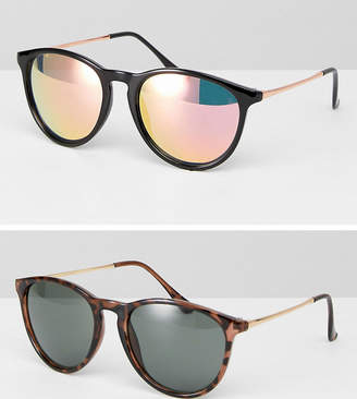 Asos 2 Pack Skinny Keyhole Retro Round Sunglasses In Tortoise And Black