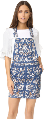 Needle & Thread Denim Embroidery Pinafore Dress $499 thestylecure.com