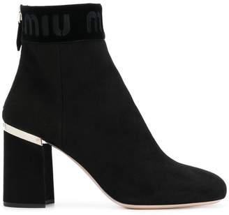 Miu Miu logo ankle boots