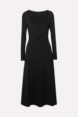 Max Mara Ruched Stretch-jersey Midi Dress - Black
