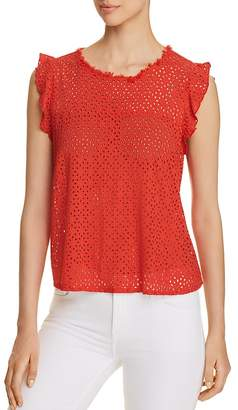 Three Dots Eyelet Flutter Top