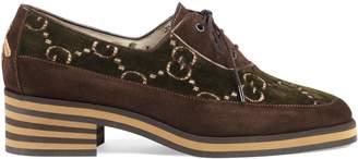 Gucci Suede and GG velvet mid-heel shoe