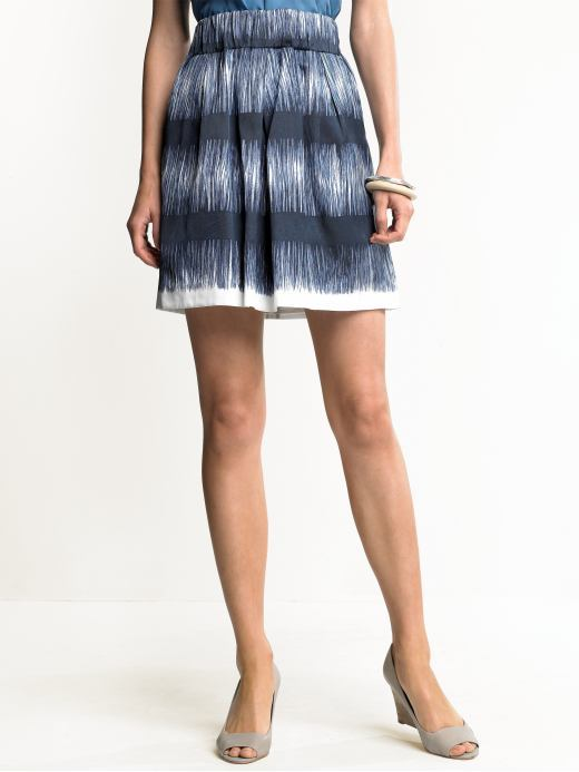 Silk-blend printed skirt