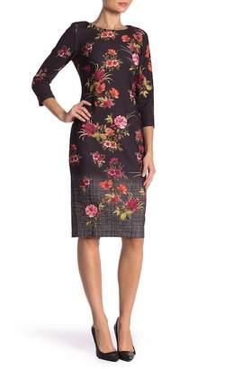 ECI Scuba Floral Printed 3\u002F4 Length Sleeve Dress