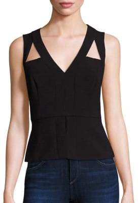BCBGMAXAZRIA Sleeveless Cutout Peplum Top