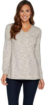 Halston H By H by Space Dye French Terry V-neck Pullover