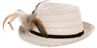 Catimini Girls' Crochet Feather-Trimmed Fedora