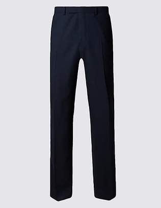 M&S Collection Luxury Big & Tall Navy Regular Fit Wool Trousers