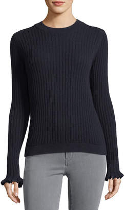 MiH Jeans Happy Frill Long-Sleeve Ribbed Merino/Cashmere Sweater