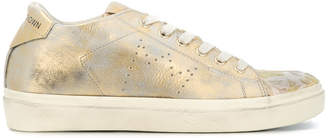 Leather Crown metallic low-top sneakers