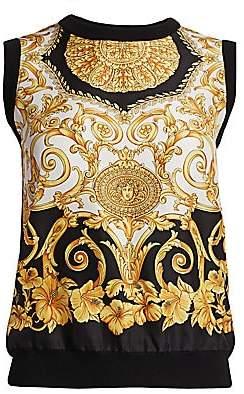 4b9a0047a31 Versace Women s Hibiscus Print Silk Top