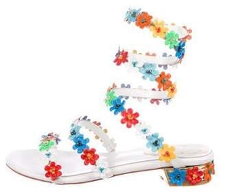 Rene Caovilla Floral Coil-Strap Sandals