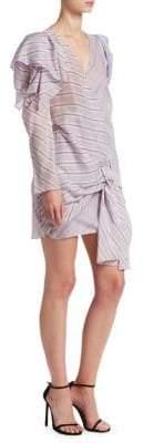 Carmen March Striped Long Sleeve Ruffle Shoulder Dress