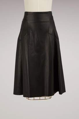Alexander McQueen High Waisted Leather Skirt