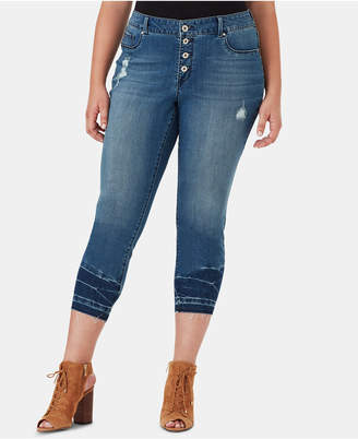 Jessica Simpson Juniors' Plus Size Kiss Me Button-Fly Super Skinny Jeans