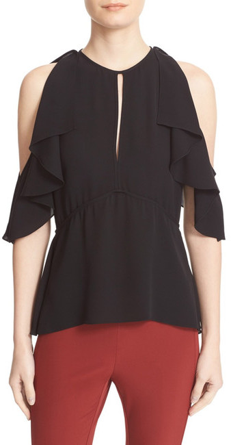 Theory Theory Desiraya B Cold Shoulder Silk Blouse