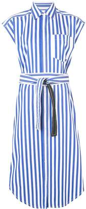 Derek Lam Sleeveless Stripe Poplin Wrap Button-Down Dress with Back Cut Out