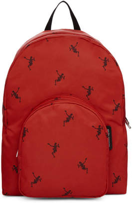 Alexander McQueen Red and Black Small Dancing Skeleton Backpack