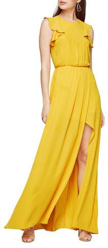 BCBGMAXAZRIABcbgmaxazria Solid Ruffled Blouson-Waist Gown