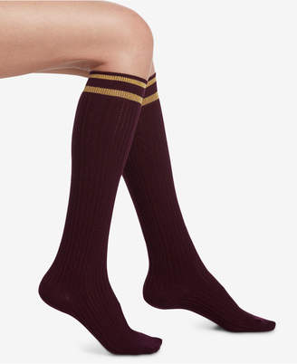 Hue Metallic-Stripe Cable-Knit Knee Socks