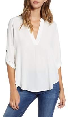 --- Roll Tab Sleeve Woven Shirt