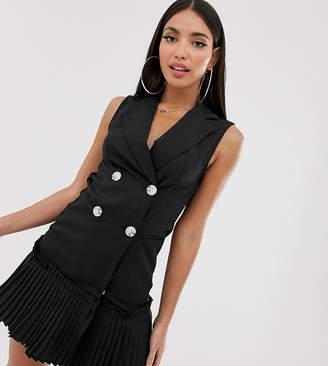 Missguided Tall sleeveless blazer dress with pleated hem in black