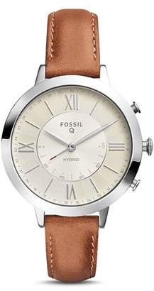 Fossil Q Jacqueline Brown Leather Strap Hybrid Smartwatch, 36mm