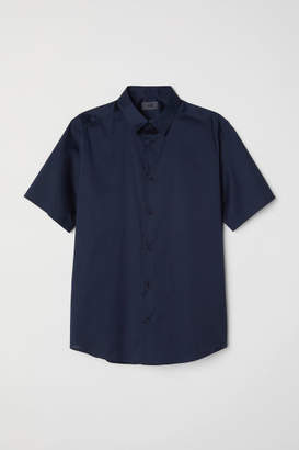 H&M Short-sleeved Shirt Slim fit - Blue