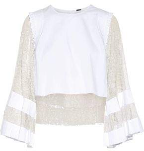 ADAM by Adam Lippes Cropped Lace-Paneled Poplin Top