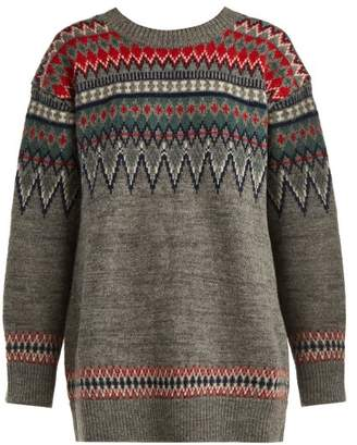 Junya Watanabe Fair Isle Knitted Wool Sweater - Womens - Grey Multi