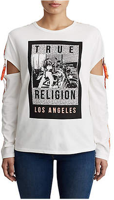 True Religion WOMENS CUT OUT GRAPHIC SHIRT W/ SNAPS