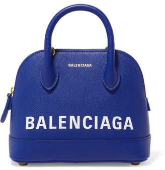 Balenciaga Ville Mini Printed Textured-leather Tote - Blue