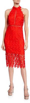 Bardot Gemma Lace Halter Midi Dress