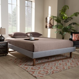 Baxton Studio Liliya Mid-Century Modern Light Grey Fabric Upholstered Walnut Brown Finished Wood King Size Platform Bed Frame