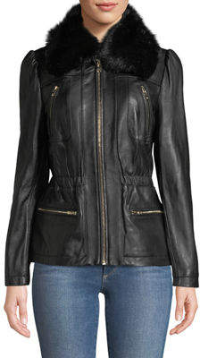 Karl Lagerfeld Paris Princess-Sleeve Leather Jacket with Faux-Fur Neckline
