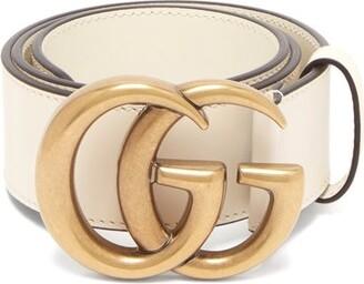 Gucci Gg Logo Leather Belt - Womens - White